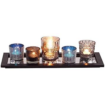 Amazon De Dekotablett Mit Windlichter Tischdeko Teelichthalter
