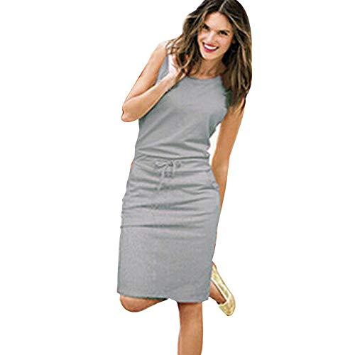 (Women's Casual Solid Bodycon Round Neck Sleeveless Drawstring Waist Knee Length Midi Dress (M, Gray))