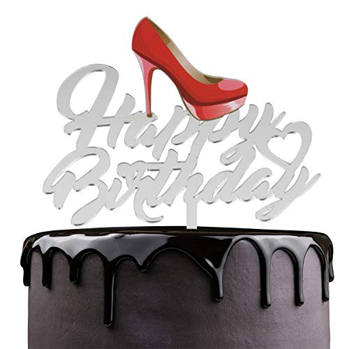 Red High Heels Happy Birthday Cake Topper - Bridal Shower Theme Party Cake Décor - Woman Girls Birthday Party Supplies - Chic Ladies Stilettos Shoes Mirrored Acrylic Decorations