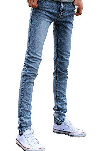 Idopy Men`s Funky Colored Super Skinny Stretch Denim Jeans Pants 32 Light Blue