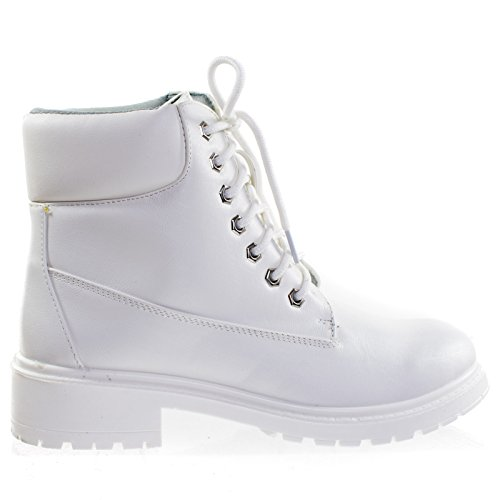 Trekking01 Solid White Super Light Weight Fashion Work Boots w Lug Sole, Padded Collar (Bamboo Lace Up Boots)