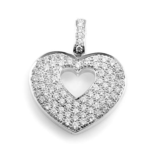 Poiray Heart Secret 18K White Gold Diamond Pave Heart Pendant PPC0230 ()