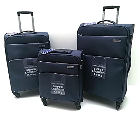 4ba46bb20 Set 3 Trolley Semirigido 4 Ruote COVERI COLLECTION Leggero Trolley Ryanair  cm.55x40x20 (BLU