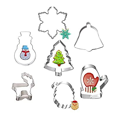 Cake Cutter - Design 7pcs Different Xmas Christmas Silver Metal Sugarcraft Biscuit Jelly Mousse Cake Cookie Cutter - Alphabet Teacher Heel Oven Plaque Cupcake Treats Engagement Tooth High Cir