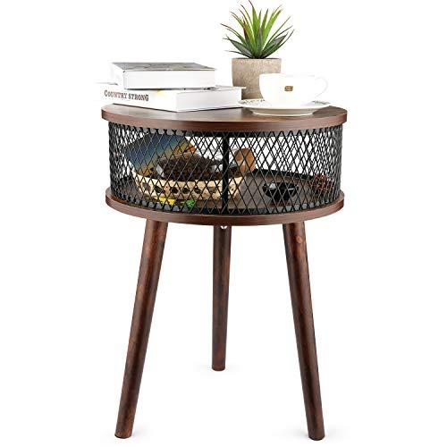 BATHWA Mesa de centro, mesa de centro, mesita de noche redonda con canasta de almacenamiento, mesa de centro para sala de estar, mesa auxiliar de metal y madera