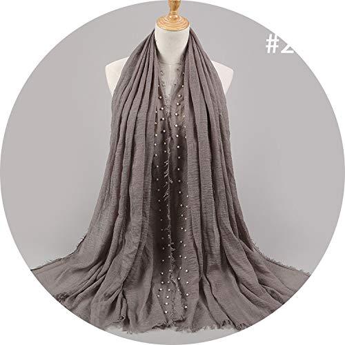 95180CM Muslim scarf Hair Beard Cotton Yarn Scarf Cotton And Linen Crumpled Monochrome women's Scarf,twenty ()