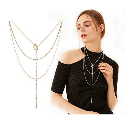 Seni Triple Layered Chain Necklace Rhinestone Bar Pendant Necklave Open Circle Y Choker Necklace (Gold)