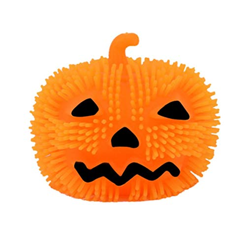 (Cinhent Toys, 1PC Halloween Decoration, Light up Pumpkin Stress Relief Orange Puffer Ball Squeeze Toy, Funny Puzzle Kids Adults Gifts, Party Favourite)