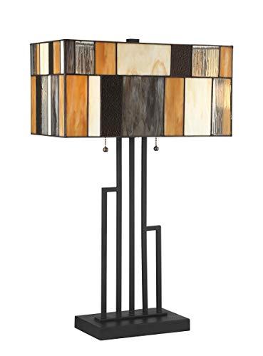 (Lite Source Concertina Black Geometric Tiffany Table Lamp)