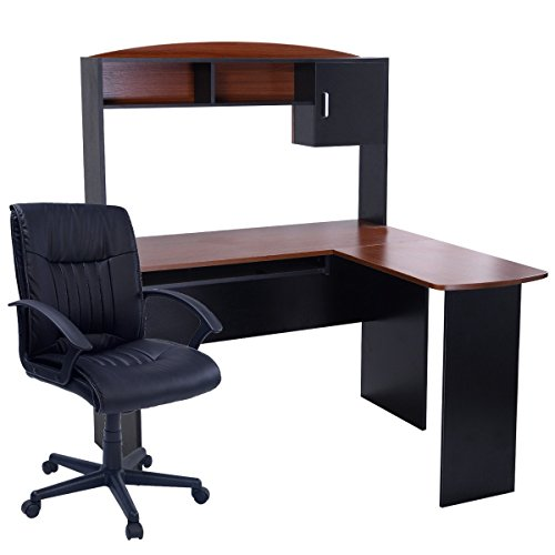 Tangkula L-Shaped Computer Desk with Hutch Study Desk Set Table+ Chair