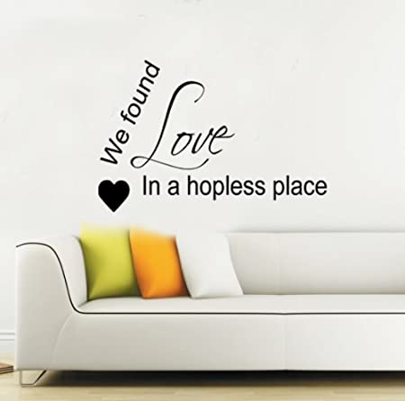 We Found Love Rihanna Wall Sticker Lyrics Quote Vinyl Decal Mural