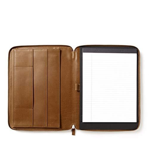 Leatherology Dark Caramel Executive Zippered Portfolio with Interior Tablet Pocket