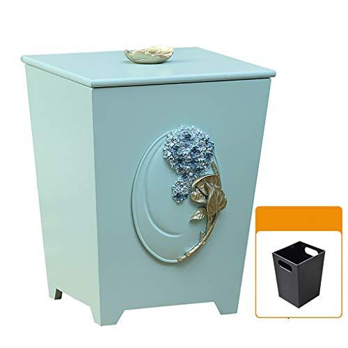 Wastebasket Creative Wooden Trash can Home Living Room Bedroom Storage Bucket Office Kitchen Garden Covered Trash Trash Can (Color : -