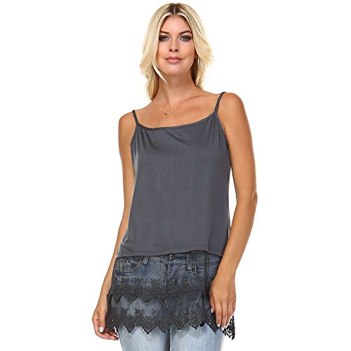 Cotton-Blend Layering Camisole with Extra-Long Sheer Lace Bottom . (XL, Charcoal) - Long Layering Camisole