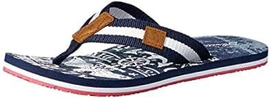 Atlantis Shoes Men's Navigation Eagle Thong Sandals, Navy-Red, 6 US(40 EU)