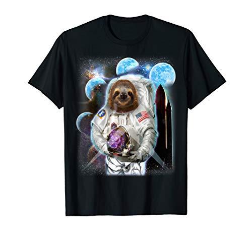 Commander Sloth in Astronaut Suit Space Shuttle Moon T-Shirt -