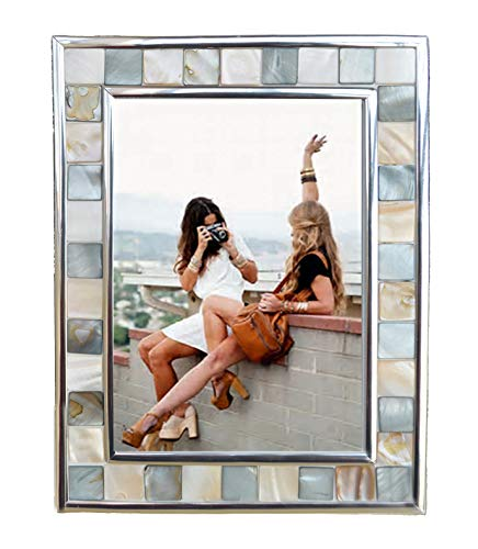- GIFTME 5 Silver Plate Picture Frame 5x7 Mother of Pearl 5 by 7 Photo Frames Mosaic Glass Tabletop Frame (Grey+ White)
