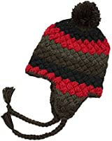 Handmade Crochet Beanie Hat Red & Brown with Earflaps