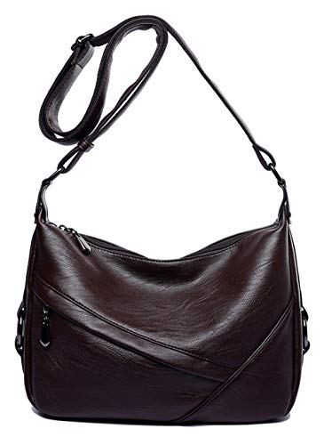Women's Retro Sling Shoulder Bag from Covelin, Leather Crossbody Tote Handbag (Coffee)