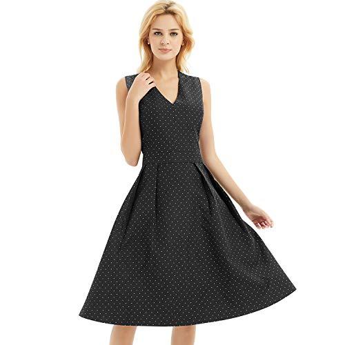 Metal Sleeveless Dress - Basic Model Autumn Women's Audrey Hepburn Vintage Dress Sleeveless Dress Swing Dress