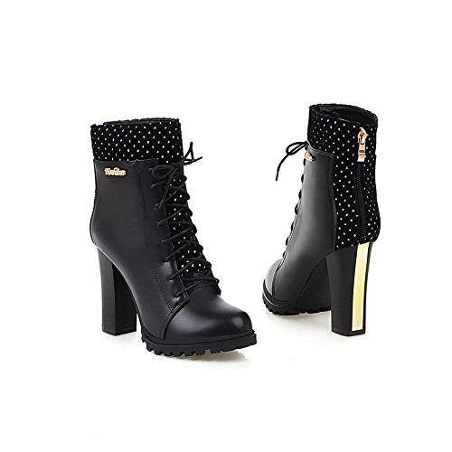 Women's Low-Top Assorted Color Zipper Round Closed Toe High-Heels Boots