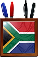 Rikki Knight 5-Inch South Africa Flag Design Wooden Tile Pen Holder (RK-PH1659)
