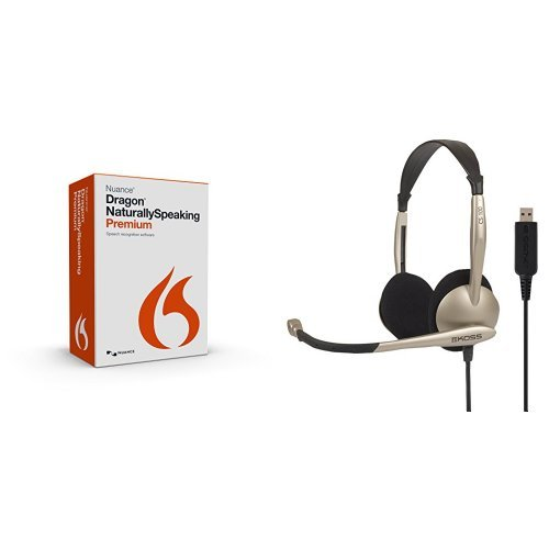 Dragon NaturallySpeaking Premium 13.0 with Koss Communications USB Headset with Microphone (CS100-USB) (Computer Dictation Software compare prices)