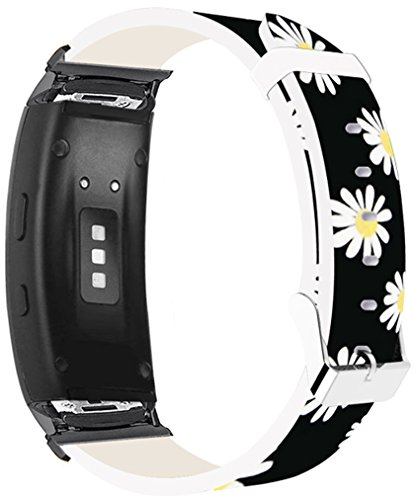 Bands for Gear Fit2 Pro & Compatible Leather Strap For Samsung for Galaxy Gear Fit 2/Fit2 Pro Bands Black Connectors Beautiful Small Yellow Flower Floral Design