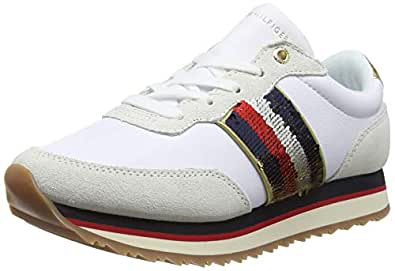 TOMMY HILFIGER Women's Signature Sequinned Retro Trainers Signature Sequinned Retro Trainers, White, 36 EU