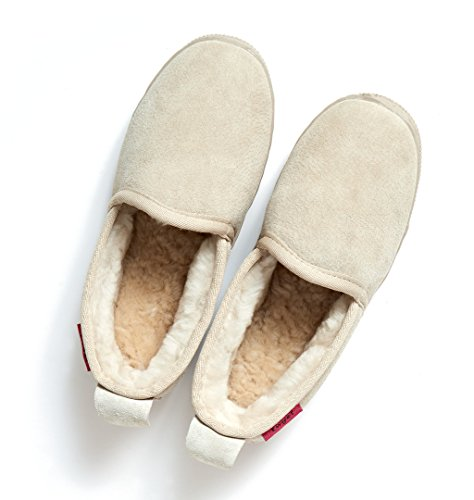 Zapatillas de casa de piel de oveja JAVA Slipper Beige