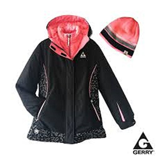 - Gerry Girl's 3 In 1 System Winter Jacket Hooded Coat With Beanie (Black/Lt Pink, Medium (10/12)
