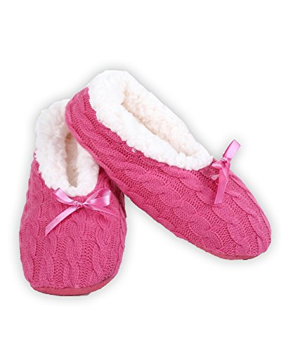ICONOFLASH Womens Cable Knit Ballet Style Slippers with Faux Shearling Lining Hot Pink d64BQ