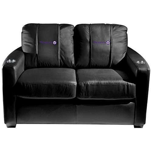 XZipit College Silver Loveseat with Western University Canada Logo Panel, Black