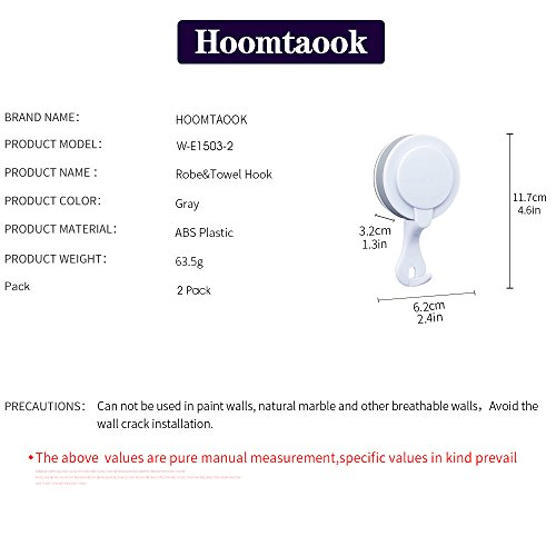 Hoomtaook Double Bathroom Shower Towel Hooks Super Power Vacuum Suction No Drill Waterproof for Kitchen (2 Pack) by Hoomtaook (Image #4)
