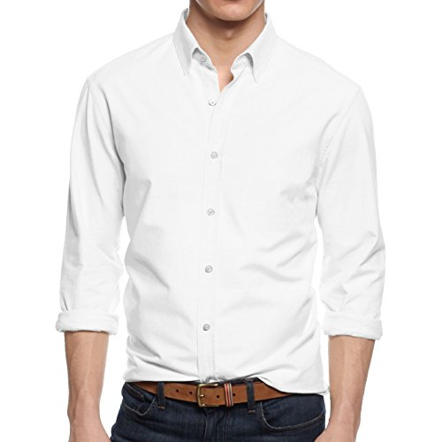 (HB Men's Slim Fit Button Down Casual Long Sleeve Dress Shirt  - Medium / 15-15.5 - White)