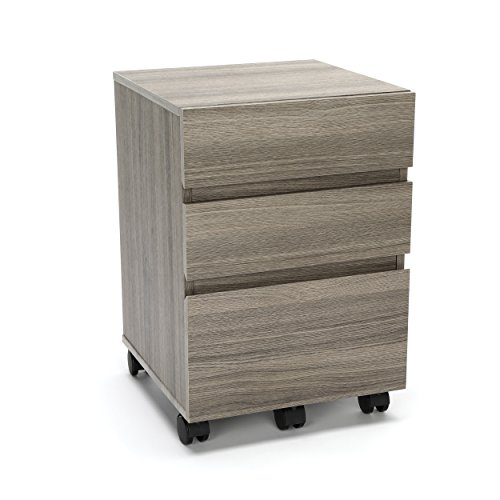 Essentials File Cabinet – 3-Drawer Wheeled Mobile Pedestal Cabinet, Driftwood (ESS-1030-DWD) Review