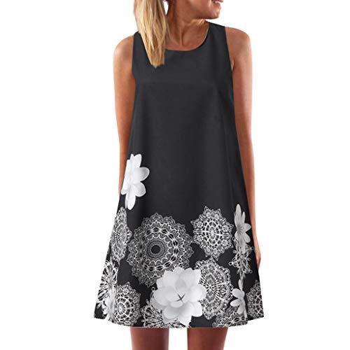 CCatyam Plus Size Dresses for Women, Sleeveless O-Neck Print Loose Sexy Mini Evening Party Fashion Black