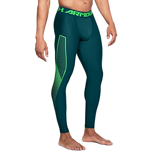 (Under Armour Men's HeatGear Armour Leggings Graphic, Tourmaline Teal (716)/Arena Green,)