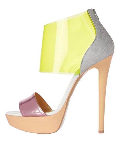 Onlymaker Women's High Heel Open Toe Zip Sandals Multicoloured PU Size US 8