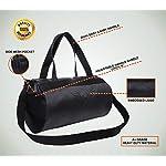 AUXTER Blacky Leatherette Gym Bag Duffel Bag Shoulder Bag for Men and Women Emboss Logo (Black)