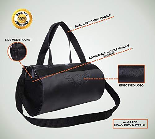41w6iB5bRKL AUXTER Blacky Leatherette Gym Bag Duffel Bag Shoulder Bag for Men and Women Emboss Logo (Black)