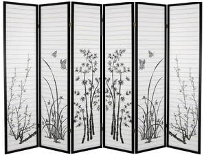 ORE International Black 4-panel Bamboo Floral Room Divider Screen 6 Panel