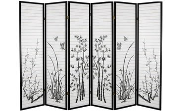 Astonishing Legacy Decor Black Bamboo Floral Room Divider Screen 6 Panels Download Free Architecture Designs Embacsunscenecom