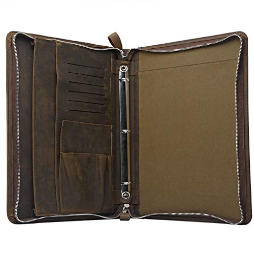 Rustic Leather Laptop Portfolio Padfolio with 3-Ring Binder for Letter A4 Paper, 13-inch MacBook Air/Surface Book by iCarryAlls (Image #1)