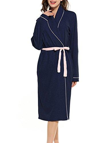 Ekouaer Bathrobe Kimono Sleepwear Blue 100