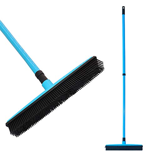 FamilyDate 2.3 ft to 4.4 ft TPR Natural Rubber Telescoping Handle Remover Broom with Squeegee, Multi-Surface and Pet Hair Removal (Blue)