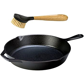 "Lodge Seasoned Cast Iron Skillet w/ Scrub Brush- 12"" Cast Iron Frying Pan With 10"" Bristle Brush"