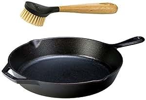 "Lodge Seasoned Cast Iron Skillet w/ Scrub Brush- 12"" Cast Iron Frying Pan With 10"" Bristle Brush"