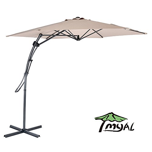 MYAL 9ft Offset Patio Umbrella Outdoor Cantilever Umbrella Tan