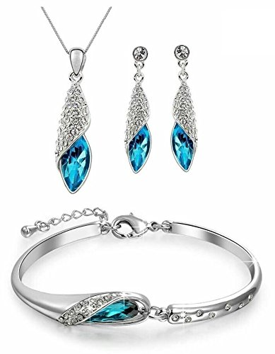 Youbella Blue Crystal Combo Of Pendant Necklace With Earrings Set And Bracelet For Girls And Women
